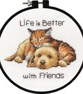 Dimensions 6\u0027\u0027 Counted Cross Stitch Kit-Life is Better with Friends