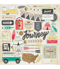 Crate Paper Journey Chipboard Gold Foil Accents Stickers 12\u0027\u0027x12\u0027\u0027