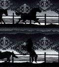 Snuggle Flannel Fabric -Black Horses on Aztec