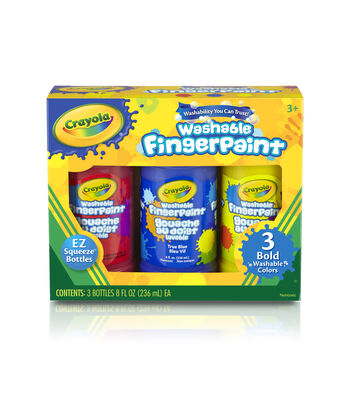 Crayola Washable Finger Paint 8oz 3/Pkg-Primary Colors