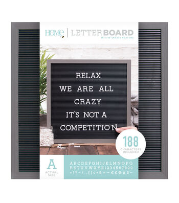 DCWV Home 16''x16'' Black Letter Board with 1'' White Letters