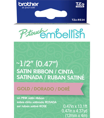 Brother P-touch Embellish Satin Ribbon 0.47''x13.1'-Gold on Pink