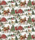 Christmas Cotton Fabric-Scenic Horses