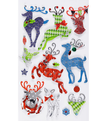 Jolee's Boutique Stickers-Patterned Reindeer