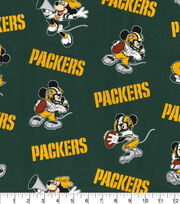 Green Bay Packers Cotton Fabric-Mickey & Minnie Mouses, , hi-res