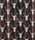 Novelty Cotton Fabric-Rustic Stag Heads on Wood