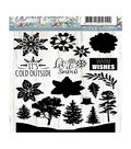 Precious Marieke Winter Flowers Clear Stamps-Let it Snow