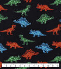 Snuggle Flannel Fabric-Dino On Black