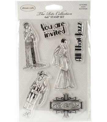 """Ultimate Crafts The Ritz Stamp Set 4""""X6""""-Jazzy Invitation"""