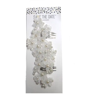 Save The Date Hair Piece-Clear Flower