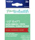 Brother P-touch Embellish Satin Ribbon 0.47\u0027\u0027x13.1\u0027-Gold on Red