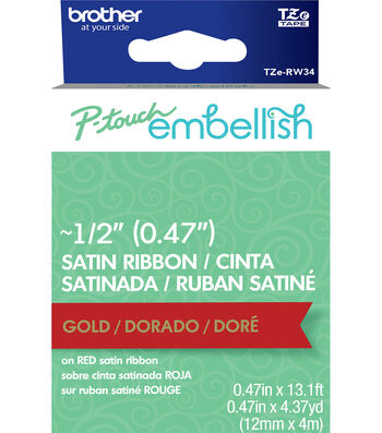 Brother P-touch Embellish Satin Ribbon 0.47''x13.1'-Gold on Red