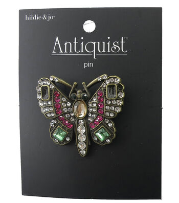 hildie & jo Butterfly Antique Gold Brooch-Pink/Green Crystal
