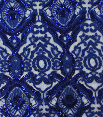 Heavy Tapestry Sequin Fabric 52''-Dazzling Blue