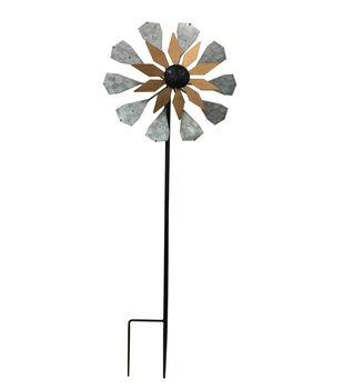 In the Garden 12''x36'' Metal & Copper Garden Spinner Stake