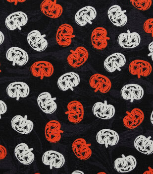 Halloween Cotton Fabric-Tossed Jack-o'-lanterns