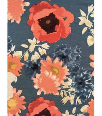 Knit Fabric 57''-Gray & Orange Floral