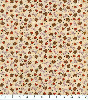 """Novelty Cotton Fabric 44""""-Tossed Paws, Bones & Love"""