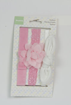 Simplicity 3 pk Baby Headbands-White & Pink