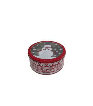 Handmade Holiday Christmas Large Round Cookie Tin with Clear Top-Snowman