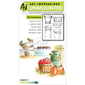 Art Impressions Watercolor Cling Rubber Stamp Containers