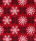 Anti-Pill Plush Fleece Fabric-Red On Red Snowflakes Holiday