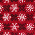 Christmas Anti-Pill Plush Fleece Fabric-Snowflakes on Red