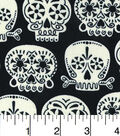 Halloween Cotton Fabric-Floral Skulls Glow