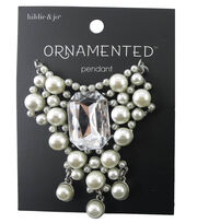 hildie & jo Ornamented Silver Pendant-Pearl & Emerald Cut Crystal, , hi-res
