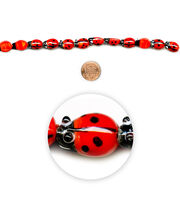 "Blue Moon Beads 7"" Strand, Lampworked Glass Ladybug, , hi-res"