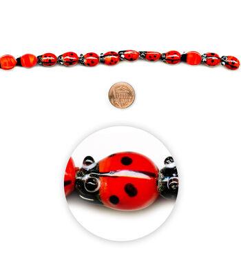 "Blue Moon Beads 7"" Strand, Lampworked Glass Ladybug"