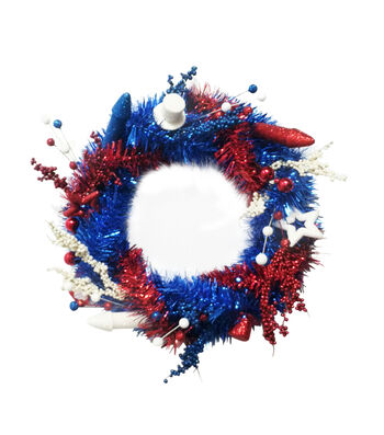 Land of the Free Patriotic Tinsel Wreath