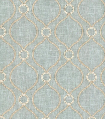 "P/K Lifestyles Lightweight Decor Fabric 58""-Curveball Emb/Seaglass"