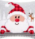Santa In A Plaid Hat Cushion Cross Stitch Kit