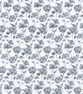Snuggle Flannel Fabric-Gray Floral On White