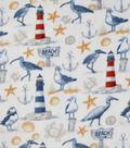 Anti-Pill Plush Fleece Fabric-Nautical Beach Sand Icons
