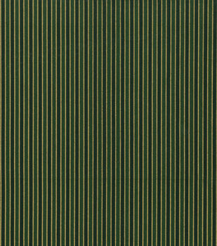 Holiday Cotton Fabric -Metallic Gold Stripe on Green