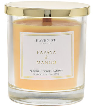 Haven St. Candle Co. 13 oz. Papaya & Mango Scented Wooden Wick Candle