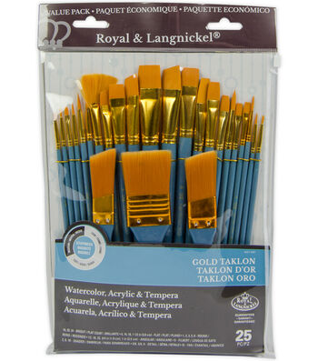 Royal Langnickel 25pc Variety Brush Set-Gold Taklon