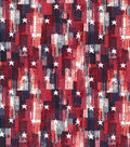 Patriotic Cotton Fabric 43\u0027\u0027-Red Brush Stroke & Stars