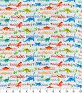 Novelty Cotton Fabric 44\u0022-Dinosaur Names