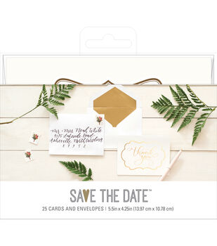 Save the Date 5.5''x4.25'' Cards & Envelopes-Gold Thank You
