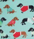 Anti-Pill Plush Fleece Fabric-Holiday Dachshunds On Aqua