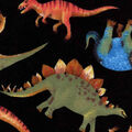 Snuggle Flannel Fabric -Real Dinos On Black
