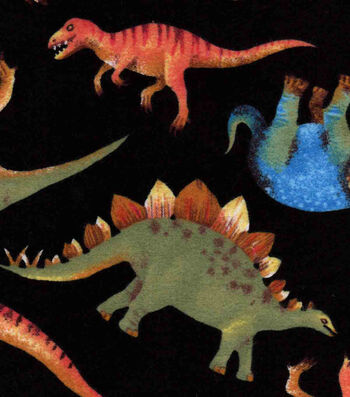 "Snuggle Flannel Fabric 42""-Real Dinos On Black"