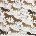Super Snuggle Flannel Fabric-Sketched Horses Running