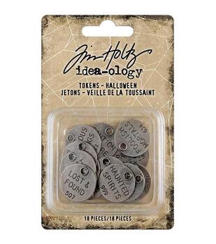 Idea-Ology Metal Typed Tokens 18/Pkg-Antique Nickel Halloween Words