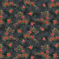 Christmas Cotton Fabric-Poinsettia Deer Black Glitter