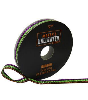 Maker's Halloween Decor Metallic Ribbon 3/8''x9'-Multi Stripes
