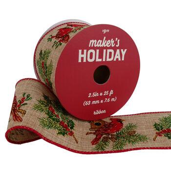 Maker's Holiday Christmas Ribbon 2.5''x25'-Cardinals on Natural